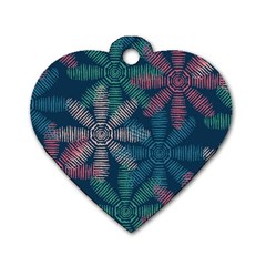 Spring Flower Red Grey Green Blue Dog Tag Heart (Two Sides)