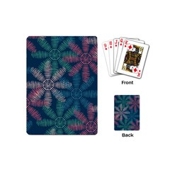 Spring Flower Red Grey Green Blue Playing Cards (mini)