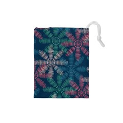 Spring Flower Red Grey Green Blue Drawstring Pouches (Small)
