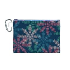 Spring Flower Red Grey Green Blue Canvas Cosmetic Bag (M)