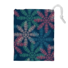 Spring Flower Red Grey Green Blue Drawstring Pouches (Extra Large)
