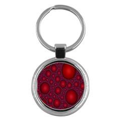 Voronoi Diagram Circle Red Key Chains (Round)