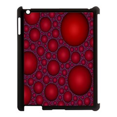 Voronoi Diagram Circle Red Apple iPad 3/4 Case (Black)