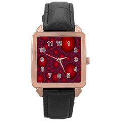 Voronoi Diagram Circle Red Rose Gold Leather Watch