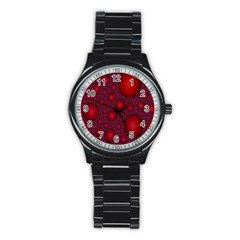 Voronoi Diagram Circle Red Stainless Steel Round Watch