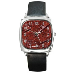 Texture Stone Red Square Metal Watch
