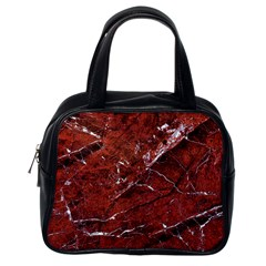 Texture Stone Red Classic Handbags (One Side)