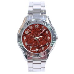 Texture Stone Red Stainless Steel Analogue Watch
