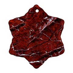 Texture Stone Red Snowflake Ornament (Two Sides)