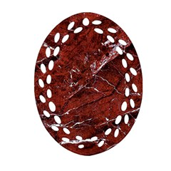 Texture Stone Red Oval Filigree Ornament (two Sides)