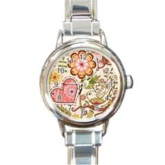 Seamless Texture Flowers Floral Rose Sunflower Leaf Animals Bird Pink Heart Valentine Love Round Italian Charm Watch