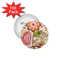Seamless Texture Flowers Floral Rose Sunflower Leaf Animals Bird Pink Heart Valentine Love 1.75  Buttons (100 pack)