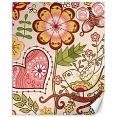 Seamless Texture Flowers Floral Rose Sunflower Leaf Animals Bird Pink Heart Valentine Love Canvas 16  x 20