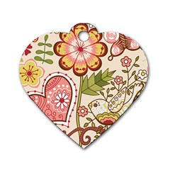 Seamless Texture Flowers Floral Rose Sunflower Leaf Animals Bird Pink Heart Valentine Love Dog Tag Heart (Two Sides)