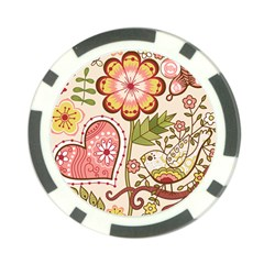 Seamless Texture Flowers Floral Rose Sunflower Leaf Animals Bird Pink Heart Valentine Love Poker Chip Card Guard (10 pack)