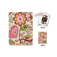 Seamless Texture Flowers Floral Rose Sunflower Leaf Animals Bird Pink Heart Valentine Love Playing Cards (Mini)