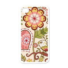 Seamless Texture Flowers Floral Rose Sunflower Leaf Animals Bird Pink Heart Valentine Love Apple iPhone 4 Case (White)