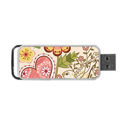 Seamless Texture Flowers Floral Rose Sunflower Leaf Animals Bird Pink Heart Valentine Love Portable USB Flash (Two Sides)