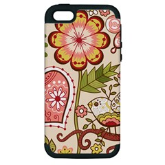 Seamless Texture Flowers Floral Rose Sunflower Leaf Animals Bird Pink Heart Valentine Love Apple iPhone 5 Hardshell Case (PC+Silicone)