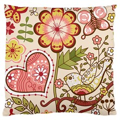 Seamless Texture Flowers Floral Rose Sunflower Leaf Animals Bird Pink Heart Valentine Love Large Flano Cushion Case (Two Sides)