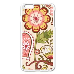 Seamless Texture Flowers Floral Rose Sunflower Leaf Animals Bird Pink Heart Valentine Love Apple iPhone 6 Plus/6S Plus Enamel White Case