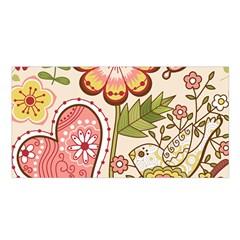 Seamless Texture Flowers Floral Rose Sunflower Leaf Animals Bird Pink Heart Valentine Love Satin Shawl