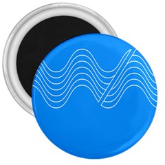 Waves Blue Sea Water 3  Magnets