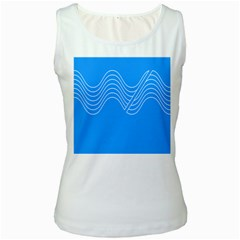 Waves Blue Sea Water Women s White Tank Top