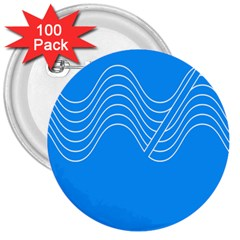 Waves Blue Sea Water 3  Buttons (100 pack)