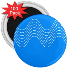 Waves Blue Sea Water 3  Magnets (100 Pack)
