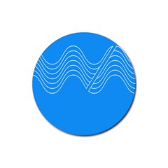 Waves Blue Sea Water Rubber Round Coaster (4 pack)