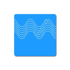 Waves Blue Sea Water Square Magnet