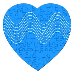 Waves Blue Sea Water Jigsaw Puzzle (Heart)
