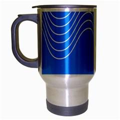 Waves Blue Sea Water Travel Mug (Silver Gray)