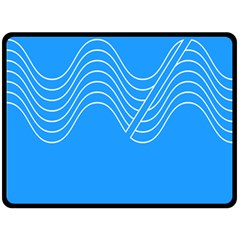 Waves Blue Sea Water Fleece Blanket (Large)