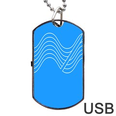 Waves Blue Sea Water Dog Tag USB Flash (Two Sides)