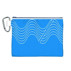 Waves Blue Sea Water Canvas Cosmetic Bag (L)