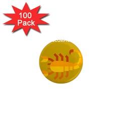 Animals Scorpio Zodiac Orange Yellow 1  Mini Magnets (100 pack)