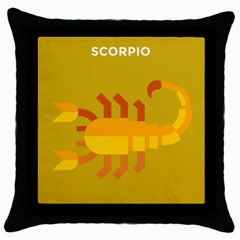 Animals Scorpio Zodiac Orange Yellow Throw Pillow Case (black)