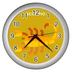 Animals Scorpio Zodiac Orange Yellow Wall Clocks (Silver)