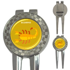 Animals Scorpio Zodiac Orange Yellow 3-in-1 Golf Divots