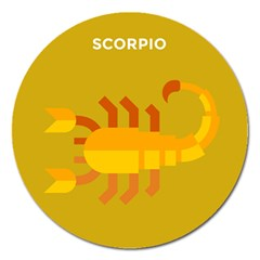 Animals Scorpio Zodiac Orange Yellow Magnet 5  (Round)