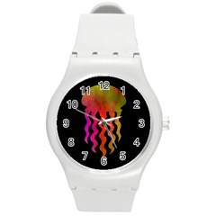 Jellyfish Black Sq Round Plastic Sport Watch (m)
