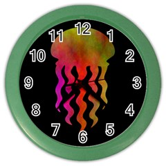 Jellyfish Black Sq Color Wall Clocks