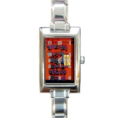 BIG RED SUN WALIN 72 Rectangle Italian Charm Watch