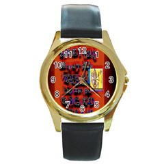 BIG RED SUN WALIN 72 Round Gold Metal Watch