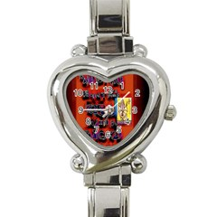 BIG RED SUN WALIN 72 Heart Italian Charm Watch