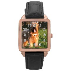 Full Briard Rose Gold Leather Watch