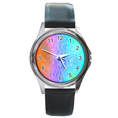 Abstract Color Pattern Textures Colouring Round Metal Watch
