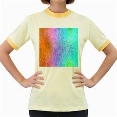 Abstract Color Pattern Textures Colouring Women s Fitted Ringer T Shirts